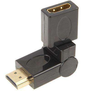 AMZER® Gold Plated HDMI 19 Pin Male to HDMI 19 Pin Female Swivel (180 Degree) Adapter - Black - fommystore