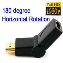 Load image into Gallery viewer, AMZER® HDMI 19 Pin Male to HDMI 19Pin Female SWIVEL (180 Degree) Adaptor Gold Plated - Black - fommystore