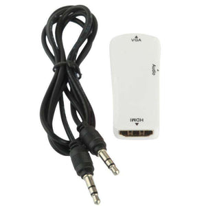 AMZER Full HD HDMI Female to VGA & Audio Adapter for HDTV, Projector - White - fommystore