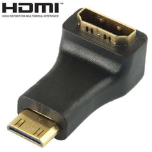 Load image into Gallery viewer, AMZER® Gold Plated Mini HDMI Male to HDMI 19 Pin Female Adaptor With 90 Degree Angle - Black - fommystore