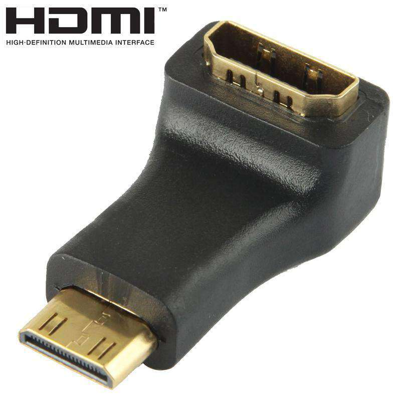 AMZER® Gold Plated Mini HDMI Male to HDMI 19 Pin Female Adaptor With 90 Degree Angle - Black - fommystore