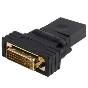 AMZER® 360 Degree Rotation Gold Plated DVI 24+1 Pin Male to 19 Pin HDMI Female Adapter - Black - fommystore