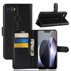 AMZER Flip Leather Case With Wallet & Card Holder for Google Pixel 3 XL - Black - fommystore