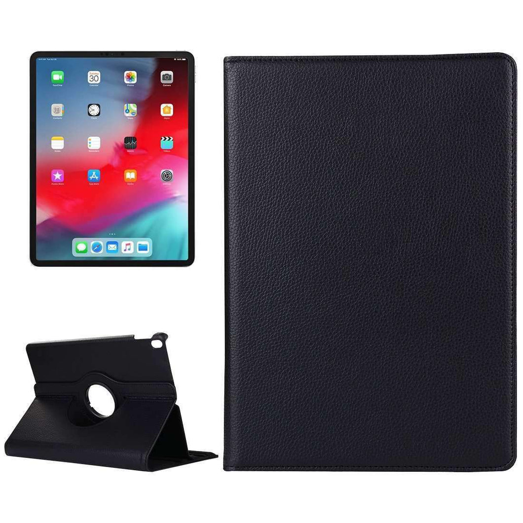 AMZER Horizontal Flip Leather Case Holder for iPad Pro 12.9 Inch 2018 - Black - fommystore