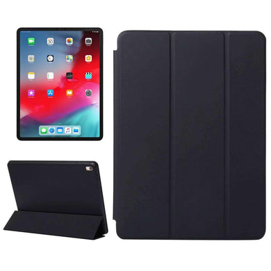 AMZER PU Leather Case With Three-folding Holder & Wake-up Sleep Function for Apple iPad Pro 12.9 Inch 2018 - Black - fommystore