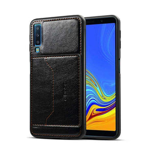 Leather Texture Protective TPU Case With Holder & Card Slots for Samsung Galaxy A7 2018 - Black - fommystore