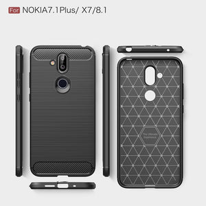 Rugged Shockproof TPU Case With Carbon Fiber Design for Nokia 7.1 Plus - Black - fommystore