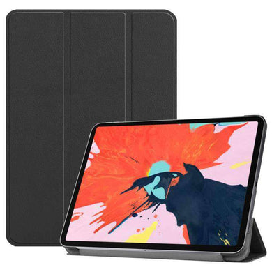 AMZER Texture PU Leather Smart Stand Cover With Auto Sleep/Wake Case & Magnetic Pencil Wireless Charging  Holder for Apple iPad Pro 12.9 Inch 2018 - Black - fommystore