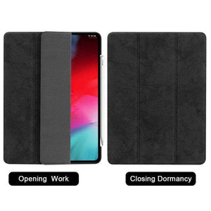 AMZER Leather Folio Cover Wake/Sleep Function For iPad Pro 12.9 inch 2018 - Black - fommystore