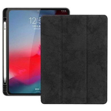 AMZER Suede Leather Folio Cover Wake/Sleep Function For iPad Pro 12.9 inch 2018 - Black - fommystore
