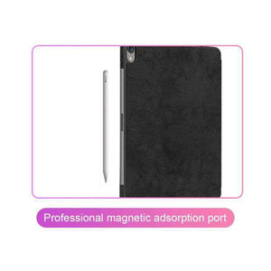 AMZER Leather Stand Folio Cover With Pen Slot & Auto Wake/Sleep Function For iPad Pro 11 inch (2018) - Black - fommystore
