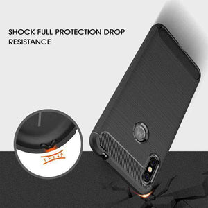 AMZER Rugged Armor Carbon Fiber Design ShockProof TPU for Motorola One Power, P30 Note - Black - fommystore