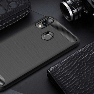 AMZER Rugged Armor Carbon Fiber Design ShockProof TPU for ASUS ZenFone Max (M2) - fommystore