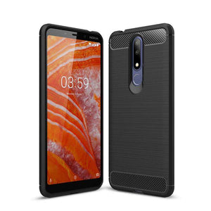 AMZER Rugged Armor Carbon Fiber Design ShockProof TPU for Nokia 3.1 Plus, Nokia X3 - fommystore