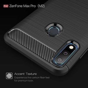 AMZER Rugged Armor Carbon Fiber Design ShockProof TPU for ASUS Zenfone Max Pro (M2) - fommystore