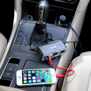 AMZER 2-Socket Cigarette Lighter Adapter 12/24V Car Power Output Splitter with 5V/1A Dual Port USB Charger - fommystore