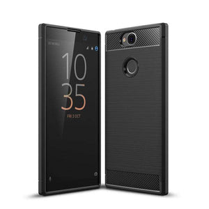 AMZER Rugged Armor Carbon Fiber Design ShockProof TPU for Sony Xperia XA2 Plus