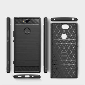 AMZER Rugged Armor Carbon Fiber Design ShockProof TPU for Sony Xperia XA2 Plus - fommystore