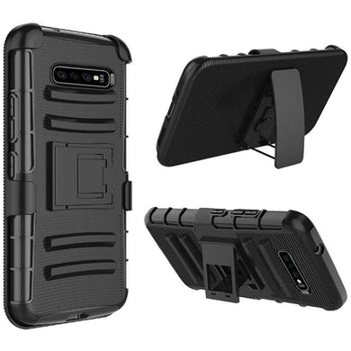 AMZER Hybrid Kickstand Case With Holster for Samsung Galaxy S10 - Black/Black - fommystore