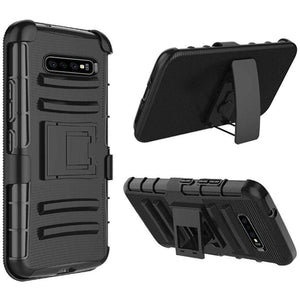 AMZER Hybrid Kickstand Case With Holster for Samsung Galaxy S10 - Black/Black