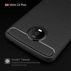 AMZER Rugged Armor Carbon Fiber Design ShockProof TPU for Motorola Moto Z4 Play - Black - fommystore