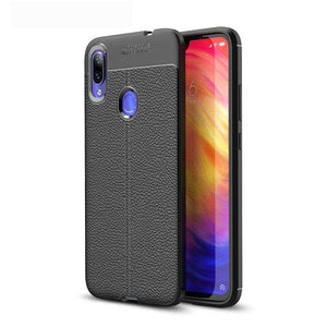 AMZER Premium Leather Texture Design Slim TPU Case for Xiaomi Redmi Note 7 - Black - fommystore