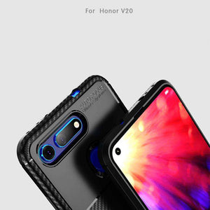 AMZER Hybrid Carbon Fiber Texture TPU Case for Huawei Honor V20 - Black - fommystore