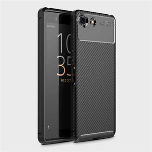 AMZER Hybrid Carbon Fiber Texture TPU Case for Sony Xperia XZ4 Compact - Black