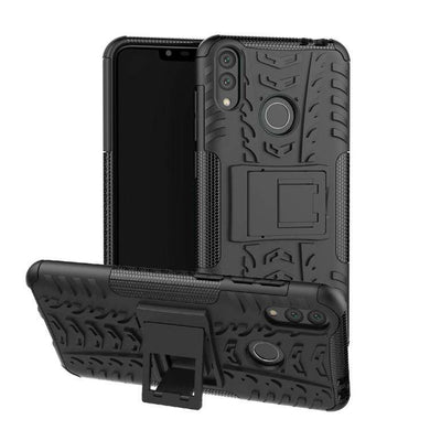 AMZER Hybrid Warrior Kickstand Case for Huawei Honor Play 8C / Huawei Honor 8C - Black/ Black - fommystore