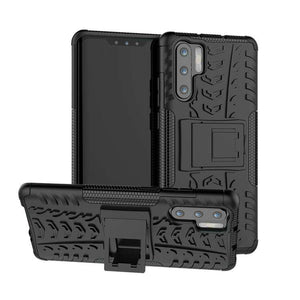 AMZER Hybrid Warrior Kickstand Case for Huawei P30 Pro - Black/ Black