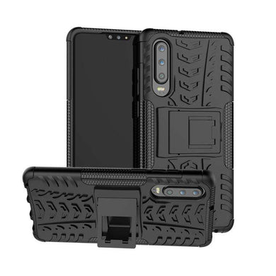 AMZER Hybrid Warrior Kickstand Case for Huawei P30 - Black/ Black - fommystore