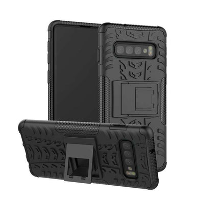 AMZER Hybrid Warrior Kickstand Case for Samsung Galaxy S10 - Black/ Black - fommystore