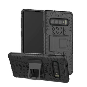 AMZER Hybrid Warrior Kickstand Case for Samsung Galaxy S10 - Black/ Black