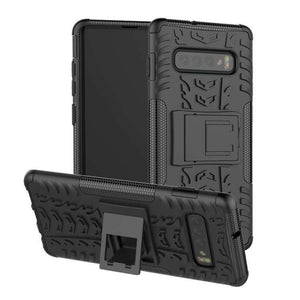 AMZER Hybrid Warrior Kickstand Case for Samsung Galaxy S10+ - Black/ Black