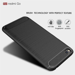 AMZER Rugged Armor Carbon Fiber Design ShockProof TPU for Xiaomi Redmi Go - Black - fommystore