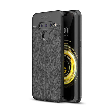 AMZER Premium Leather Texture Design Slim TPU Case for LG V50 ThinQ - Black - fommystore