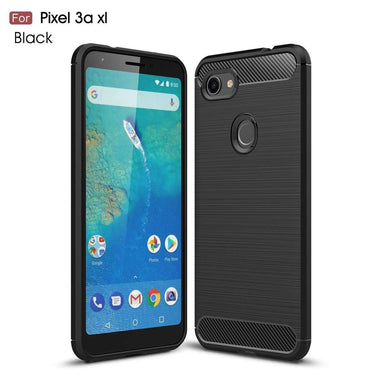 AMZER Rugged Armor Carbon Fiber Design ShockProof TPU for Google Pixel 3a XL - Black - fommystore