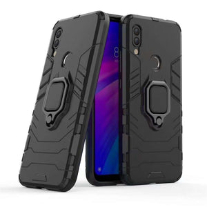 AMZER Sainik Case With 360° Magnetic Ring Holder for Xiaomi Redmi 7 - Black