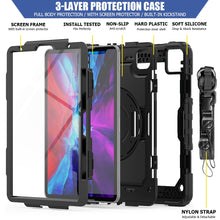 Load image into Gallery viewer, AMZER TUFFEN Case with Hand Strap, Neck Lanyard And Apple Pencil Slot for Apple iPad Pro 11 Inch 2018 - Black - fommystore