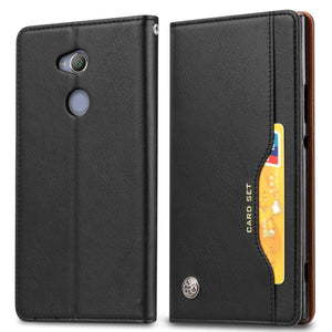 Horizontal Flip Leather Texture Wallet Case with Photo Frame/ Card Slot Holder for Sony Xperia XA2 - Black