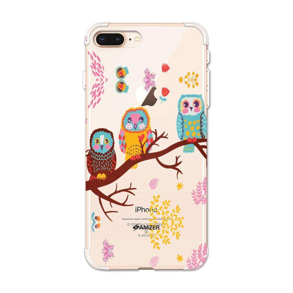 AMZER Soft Gel Clear TPU Case for Apple iPhone 7 Plus - Owls On Branch - fommystore