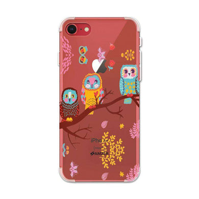 AMZER Soft Gel Clear TPU Case for Apple iPhone 7/ iPhone 8 - Owls On Branch - fommystore