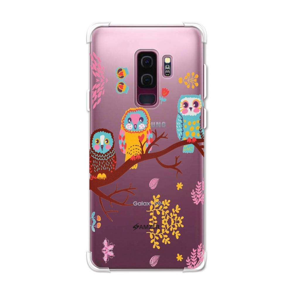 AMZER Soft Gel Clear TPU Case for Samsung Galaxy S9 Plus - Owls On Branch - fommystore