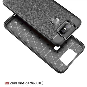 AMZER Shockproof TPU Case With Texture for Asus Zenfone 6 ZS630KL - Black - fommystore
