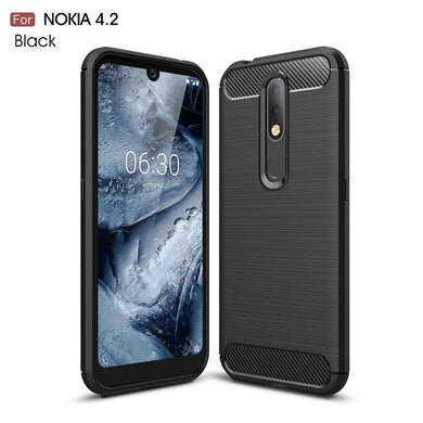 AMZER Rugged Shockproof TPU Case With Carbon Fiber Design for Nokia 4.2 - Black - fommystore