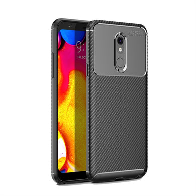 AMZER Rugged Armor Carbon Fiber Design ShockProof TPU for LG Q Stylo 5 - Black - fommystore