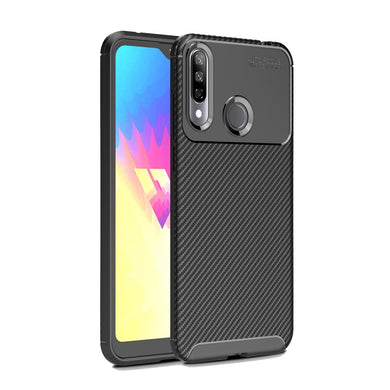 AMZER Rugged Armor Carbon Fiber Design ShockProof TPU for LG W30 - Black - fommystore