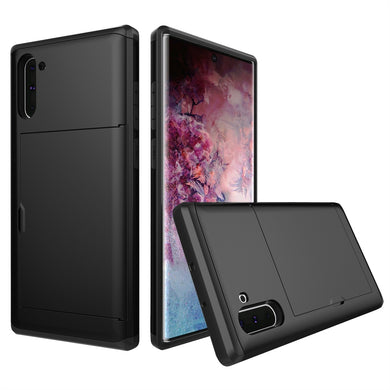 AMZER Shockproof Rugged Protective Case with Card Slot for Samsung Galaxy Note 10 - Black - fommystore