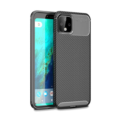 AMZER Rugged Armor Carbon Fiber Design ShockProof TPU for Google Pixel 4 - Black - fommystore