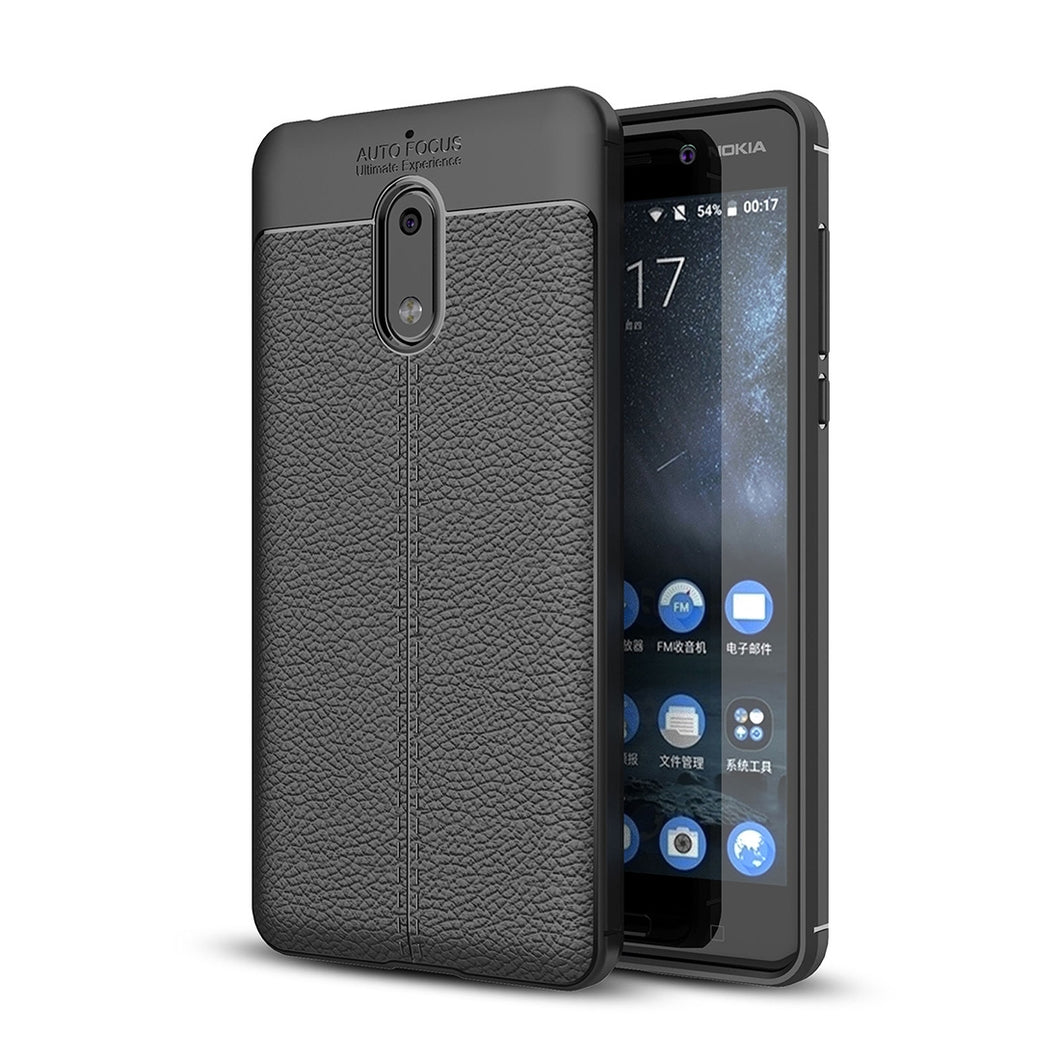 AMZER Shockproof TPU Case With Texture for Nokia 6 - Black - fommystore